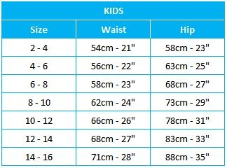 Kids Brief Size Chart