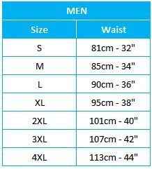 Mens Brief Size Chart
