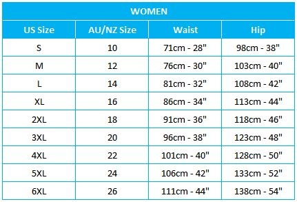 Womens Brief Size Chart US